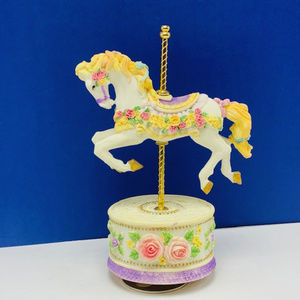 Carousel music box moving horse decor floral mare